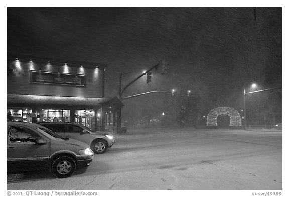 Street in snow blizzard by night. Jackson, Wyoming, USA (black and white)