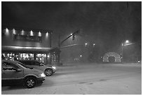 Street in snow blizzard by night. Jackson, Wyoming, USA ( black and white)