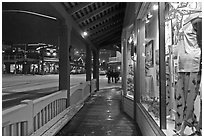Storefront and gallery by night. Jackson, Wyoming, USA ( black and white)
