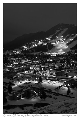 Town and Snow King ski hill from above at night. Jackson, Wyoming, USA (black and white)