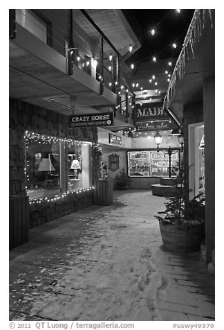 Shopping alley by night. Jackson, Wyoming, USA (black and white)