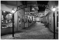 Gaslight Alley by night. Jackson, Wyoming, USA (black and white)