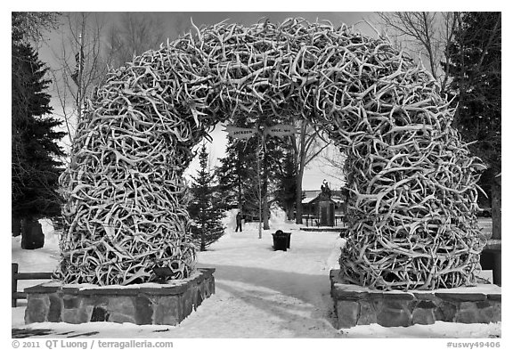 Antler Arch and Town Square in winter. Jackson, Wyoming, USA (black and white)