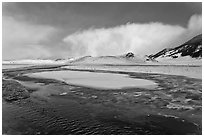 Stream in winter, National Elk Refuge. Jackson, Wyoming, USA ( black and white)