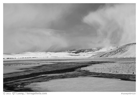 Snowy valley with stream, National Elk Refuge. Jackson, Wyoming, USA (black and white)