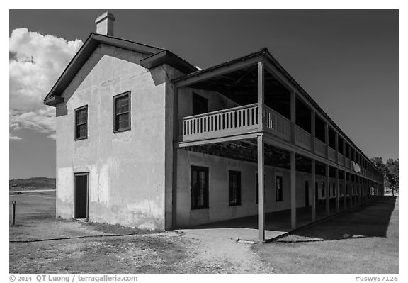 Cavalry Barracks. Fort Laramie National Historical Site, Wyoming, USA (black and white)