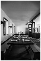 Dinning room inside barracks. Fort Laramie National Historical Site, Wyoming, USA ( black and white)