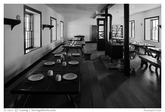 Dinning room in Cavalry Barracks. Fort Laramie National Historical Site, Wyoming, USA (black and white)