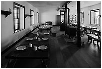 Dinning room in Cavalry Barracks. Fort Laramie National Historical Site, Wyoming, USA ( black and white)
