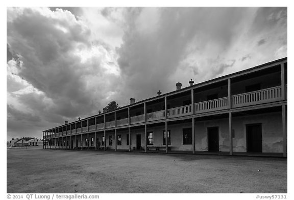 Barracks and storm clouds. Fort Laramie National Historical Site, Wyoming, USA (black and white)