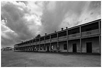 Barracks and storm clouds. Fort Laramie National Historical Site, Wyoming, USA ( black and white)