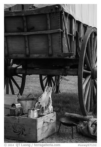 Pionneer wagon and camp gear. Fort Laramie National Historical Site, Wyoming, USA (black and white)