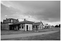 Path and buildings. Fort Laramie National Historical Site, Wyoming, USA ( black and white)