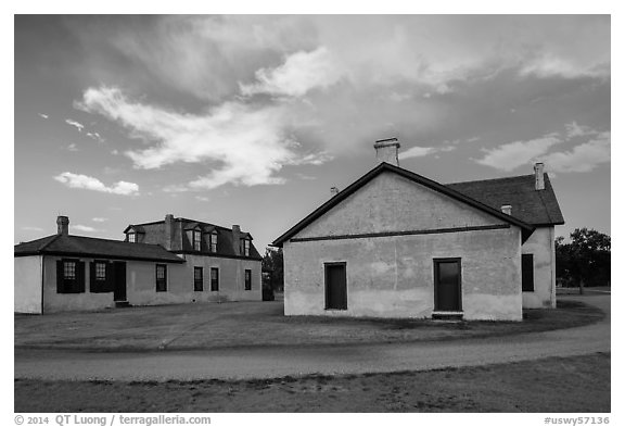 Colonel Quarters and Post Surgeon Quarters. Fort Laramie National Historical Site, Wyoming, USA (black and white)