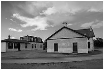 Colonel Quarters and Post Surgeon Quarters. Fort Laramie National Historical Site, Wyoming, USA ( black and white)