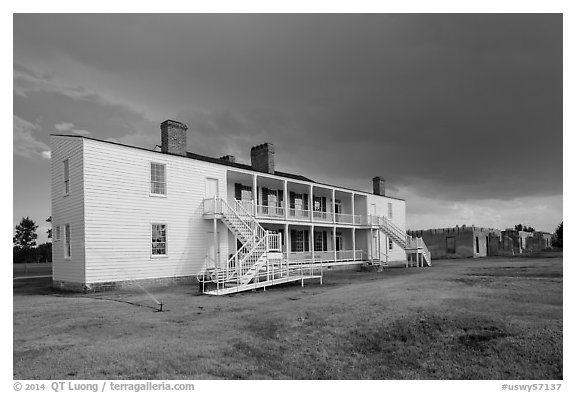 Old Bedlam, oldest building in Wyoming. Fort Laramie National Historical Site, Wyoming, USA (black and white)