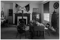 Officer office. Fort Laramie National Historical Site, Wyoming, USA ( black and white)