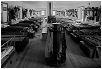 Barrack dorm. Fort Laramie National Historical Site, Wyoming, USA ( black and white)