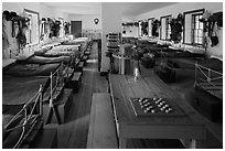 Barrack dorm room. Fort Laramie National Historical Site, Wyoming, USA ( black and white)