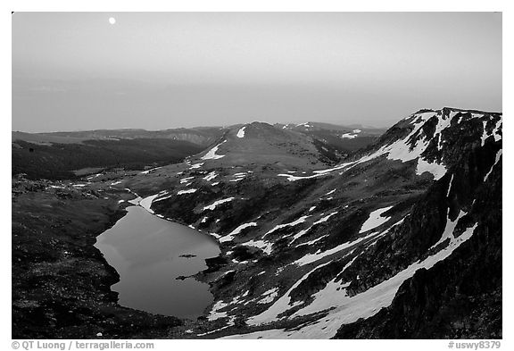 Alpine lake at dusk, Beartooth Mountains, Shoshone National Forest. Wyoming, USA (black and white)