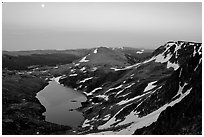 Alpine lake at dusk, Beartooth Mountains, Shoshone National Forest. Wyoming, USA ( black and white)