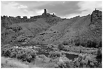 Shoshone River and rock Chimneys, Shoshone National Forest. Wyoming, USA (black and white)