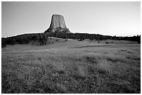Devils Tower, sunset, Devils Tower National Monument. Wyoming, USA (black and white)