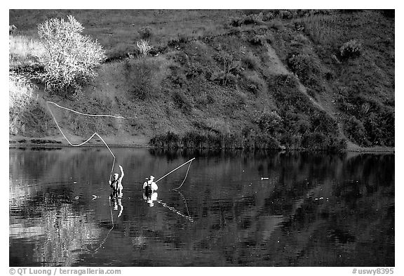 Fly fishermen, Snake River. Wyoming, USA (black and white)