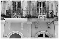 Detail of facade, Ponce. Puerto Rico ( black and white)