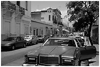 Old car in a street, Ponce. Puerto Rico ( black and white)