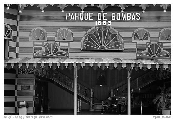 Parc De Bombas, a red and black striped historic firehouse, Ponce. Puerto Rico (black and white)