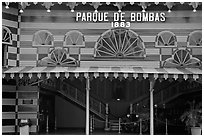 Parc De Bombas, a red and black striped historic firehouse, Ponce. Puerto Rico ( black and white)