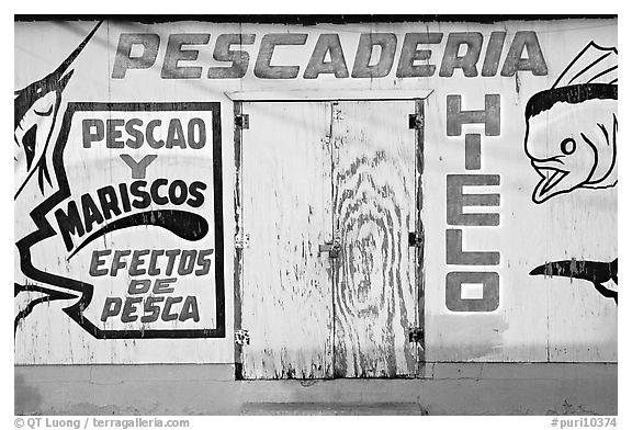 Wall of a fishery, La Parguera. Puerto Rico (black and white)