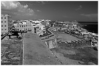 Street and El Morro Fortress. San Juan, Puerto Rico ( black and white)