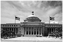 Capitol, with US and Puerto Rico flags. San Juan, Puerto Rico (black and white)