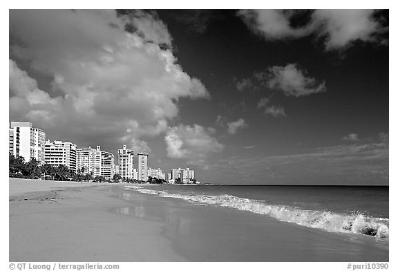 Beach and modern residential towers, morning. San Juan, Puerto Rico (black and white)