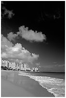 Beach and high-rise buildings, morning. San Juan, Puerto Rico ( black and white)