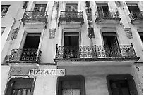 Facade of old house. San Juan, Puerto Rico (black and white)