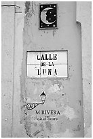 Street sign in Spanish. San Juan, Puerto Rico (black and white)
