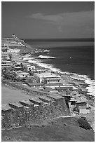 Coast seen from the walls of Fort San Felipe del Morro Fortress. San Juan, Puerto Rico (black and white)