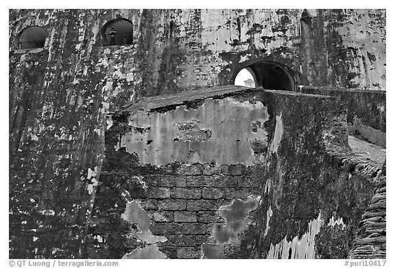 Walls and openings,  El Morro Fortress. San Juan, Puerto Rico (black and white)