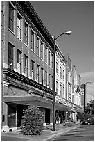 Sidewalk and historic downtown buildings. Selma, Alabama, USA ( black and white)