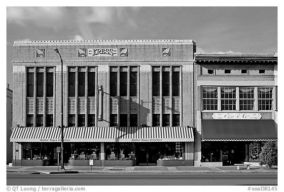 Historic store buildings. Selma, Alabama, USA (black and white)