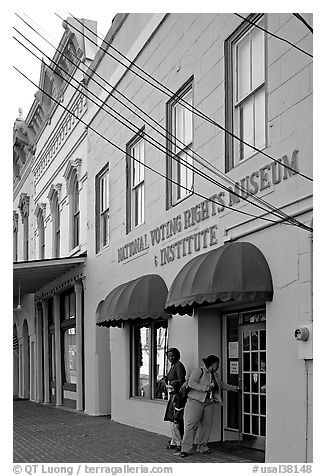 Entrance of National Voting Rights Museum. Selma, Alabama, USA (black and white)