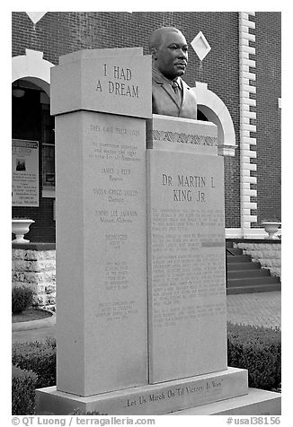 Memorial to Martin Luther King at the start of the Selma-Montgomery march. Selma, Alabama, USA (black and white)