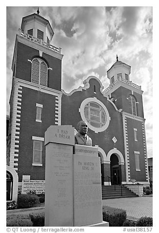 Selma-Montgomery march memorial and Brown Chapel. Selma, Alabama, USA (black and white)