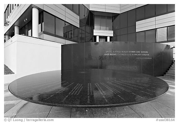 Table with names of 40 people who gave lives for racial equity, Civil Rights Memorial. Montgomery, Alabama, USA (black and white)
