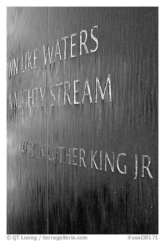 Words from bibical quote and Martin Luther King name, Civil Rights Memorial. Montgomery, Alabama, USA (black and white)