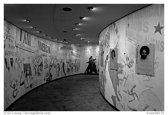 Inside the Civil Rights Memorial. Montgomery, Alabama, USA (black and white)