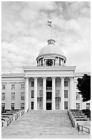 State Capitol and stairs. Montgomery, Alabama, USA ( black and white)